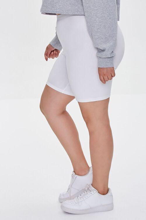 WHITE Plus Size Organically Grown Cotton Basic Biker Shorts, image 3