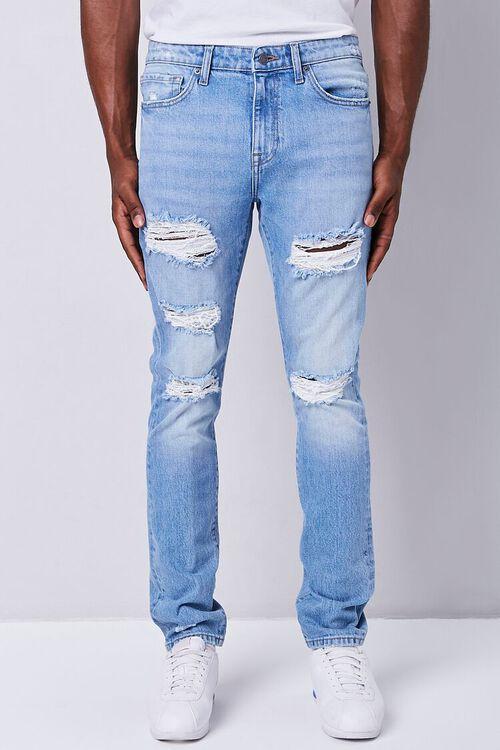 MEDIUM DENIM Premium Distressed Slim-Fit Jeans, image 2