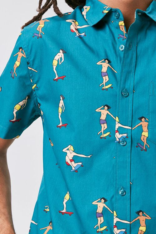 TEAL/MULTI Skateboard Print Fitted Shirt, image 5