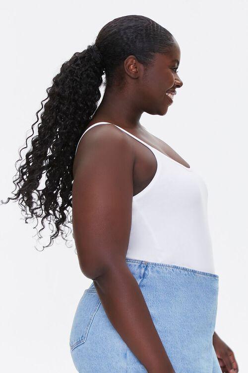 WHITE Plus Size Basic Organically Grown Cotton Bodysuit, image 2
