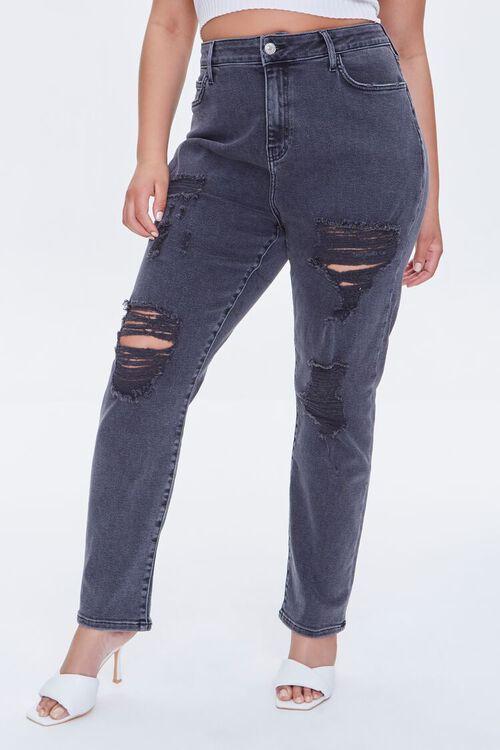 Plus Size Distressed Boyfriend Jeans, image 2