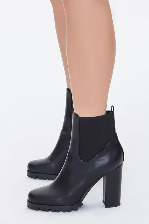 Faux Leather Block Heel Chelsea Booties, image 3