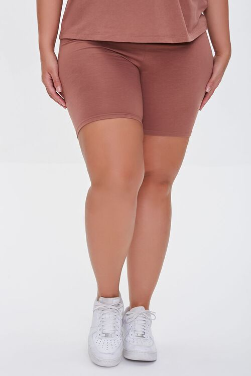 COGNAC Plus Size Organically Grown Cotton Biker Shorts, image 2