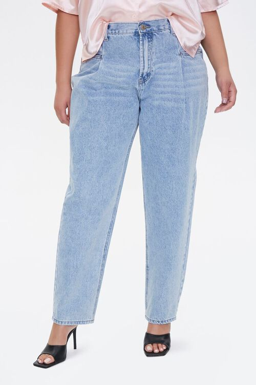 Plus Size Darted Straight-Leg Jeans, image 2