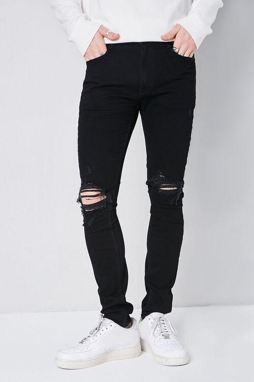 BLACK Premium Distressed Skinny Jeans, image 2