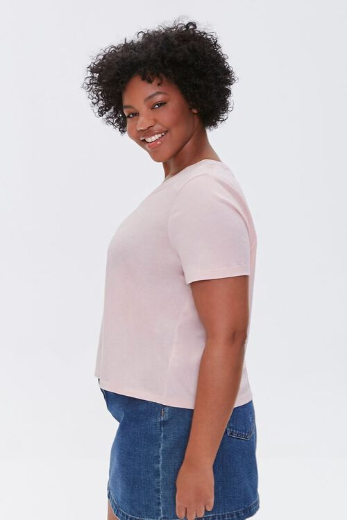 DUSTY PINK Plus Size Basic Organically Grown Cotton Tee, image 2