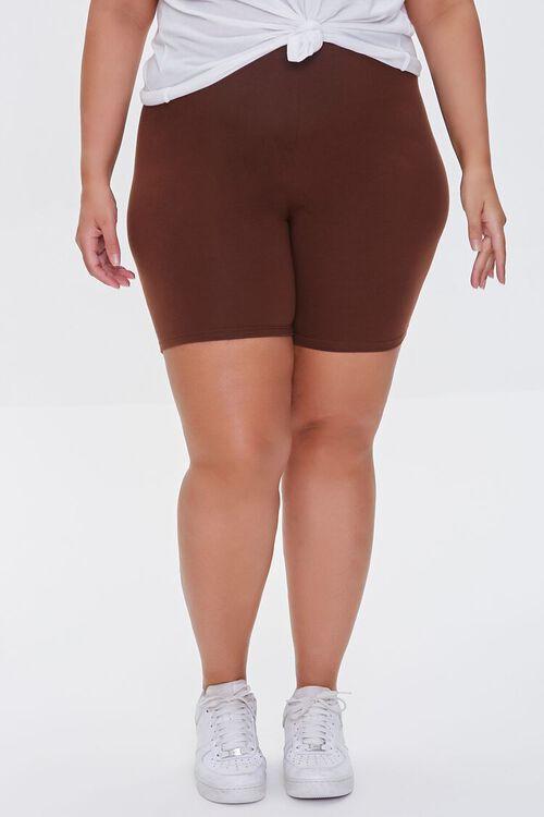CHOCOLATE Plus Size Organically Grown Cotton Biker Shorts, image 2