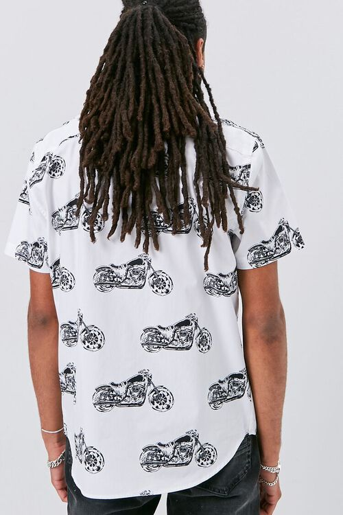 WHITE/MULTI Motorcycle Print Fitted Shirt, image 3