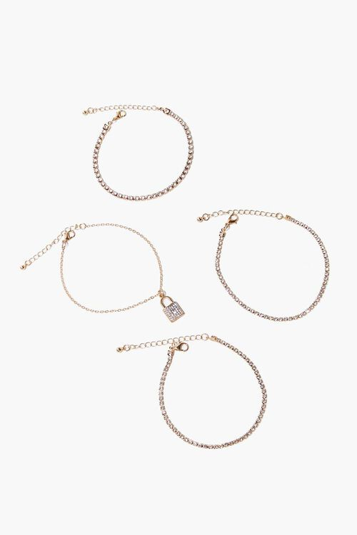 Lock Pendant Rhinestone Bracelet Set, image 3