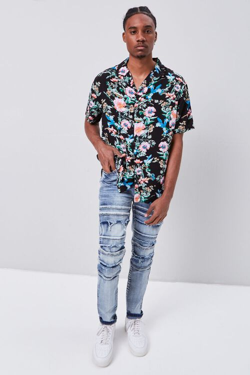 Paneled Distressed Slim-Fit Jeans, image 1