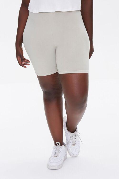 NEUTRAL GREY Plus Size Basic Organically Grown Cotton Biker Shorts, image 2
