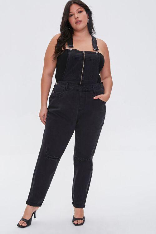 Plus Size Zip-Front Denim Overalls, image 1
