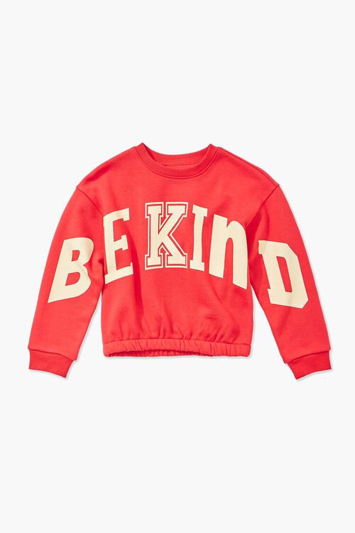 RED/MULTI Girls Be Kind Graphic Sweatshirt (Kids), image 1