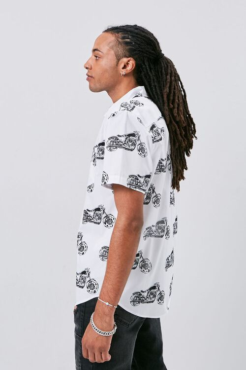 WHITE/MULTI Motorcycle Print Fitted Shirt, image 2