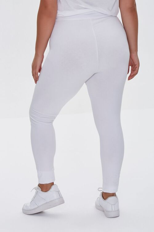 WHITE Plus Size Basic Organically Grown Cotton Leggings, image 4