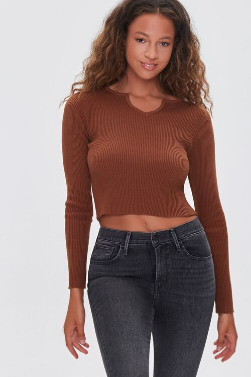 Ribbed Sweater-Knit Crop Top, image 1