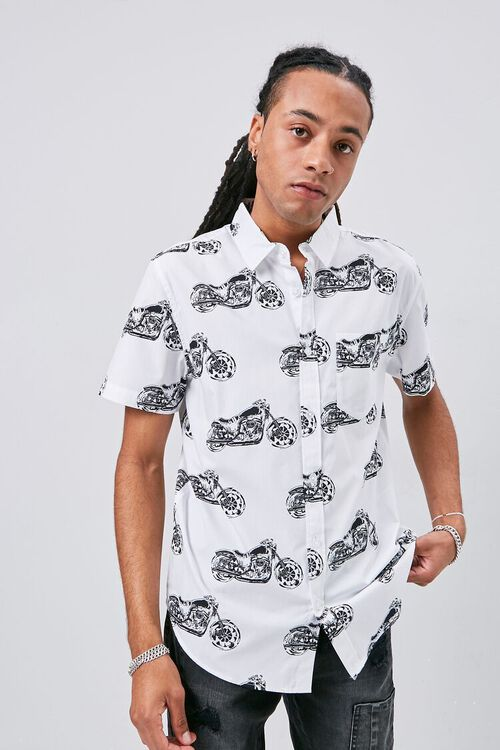 WHITE/MULTI Motorcycle Print Fitted Shirt, image 1