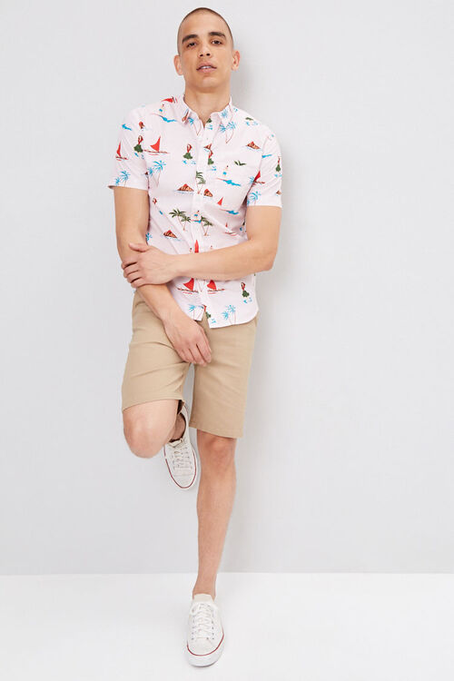 PINK/MULTI Fitted Pinstriped Tropical Shirt, image 4