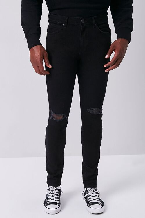 BLACK Premium Distressed Slim-Fit Jeans, image 2