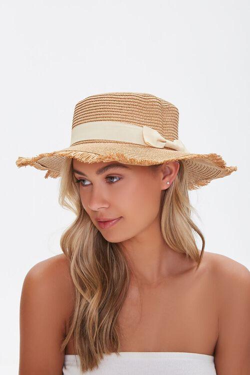 Frayed Straw Boater Hat, image 2