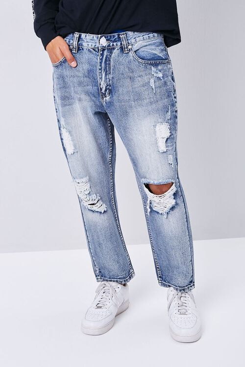 MEDIUM DENIM Distressed Straight-Leg Ankle Jeans, image 2
