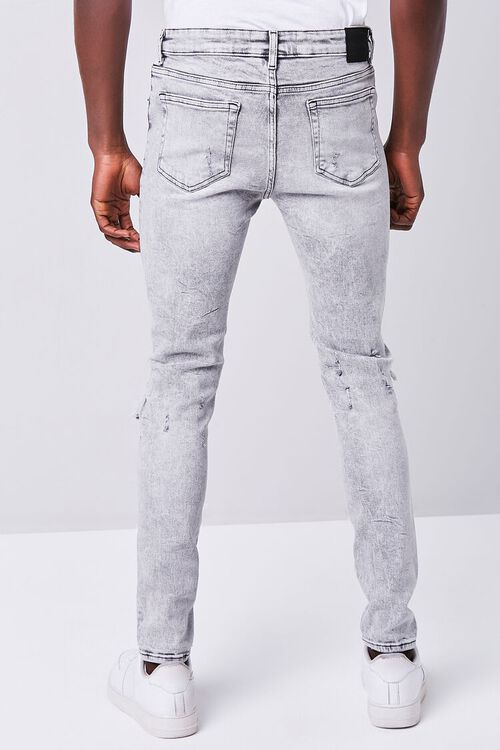 GREY Bleached Distressed Skinny Jeans, image 4