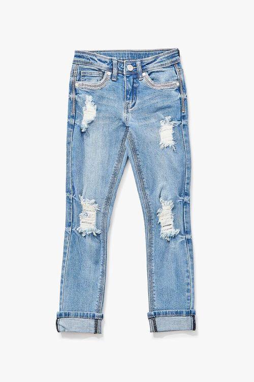 Girls Distressed Cuffed Jeans (Kids), image 1