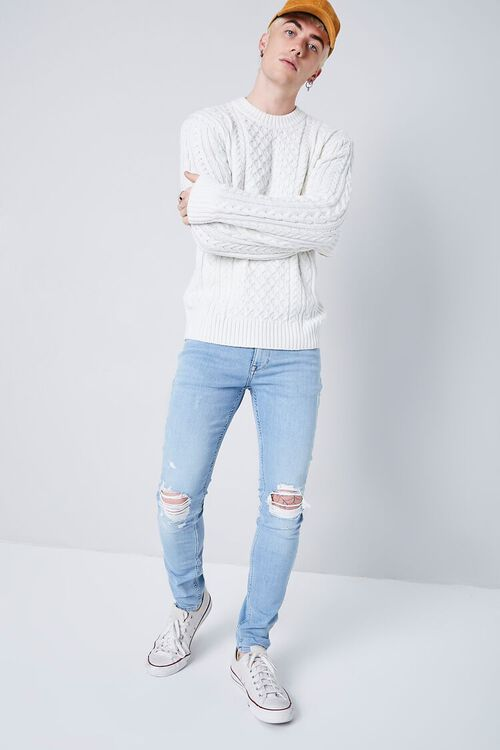 LIGHT DENIM Premium Distressed Skinny Jeans, image 1