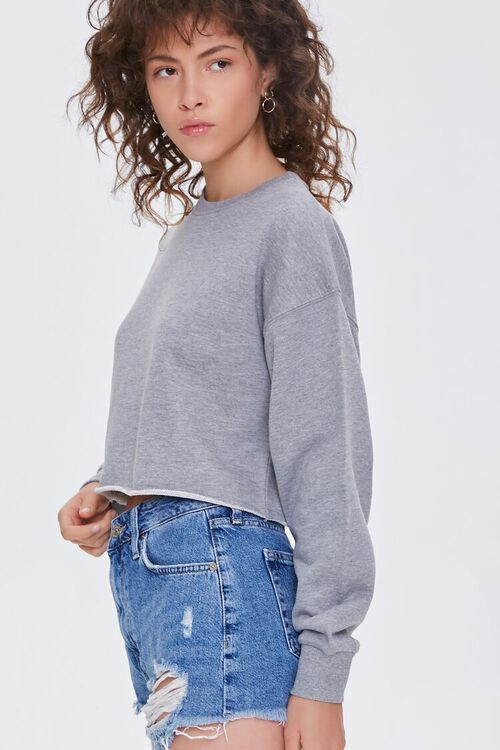 HEATHER GREY French Terry Drop-Sleeve Pullover, image 2