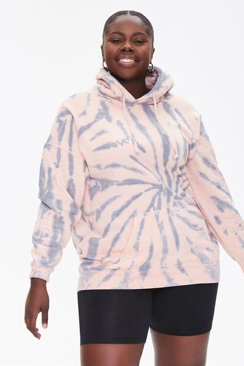 GREY/PINK Plus Size Tie-Dye Hoodie, image 2