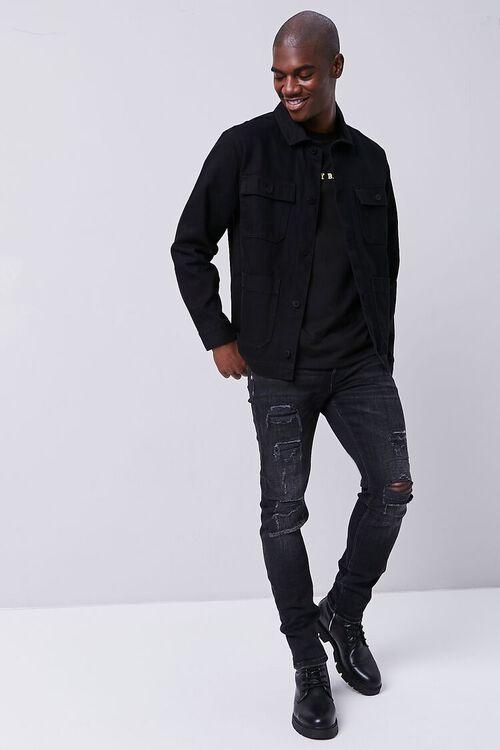 BLACK Distressed Slim-Fit Jeans, image 1