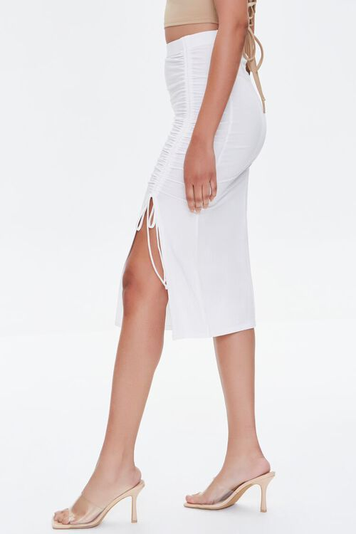 Ruched Drawstring Bodycon Midi Skirt, image 3