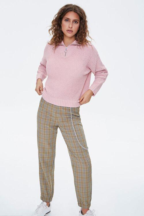 BLUSH Open-Knit Half-Zip Sweater, image 4