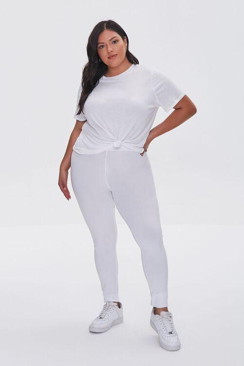 WHITE Plus Size Basic Organically Grown Cotton Leggings, image 1