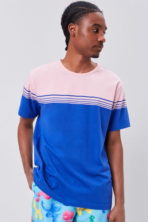 PINK/BLUE Striped Colorblock Tee, image 1