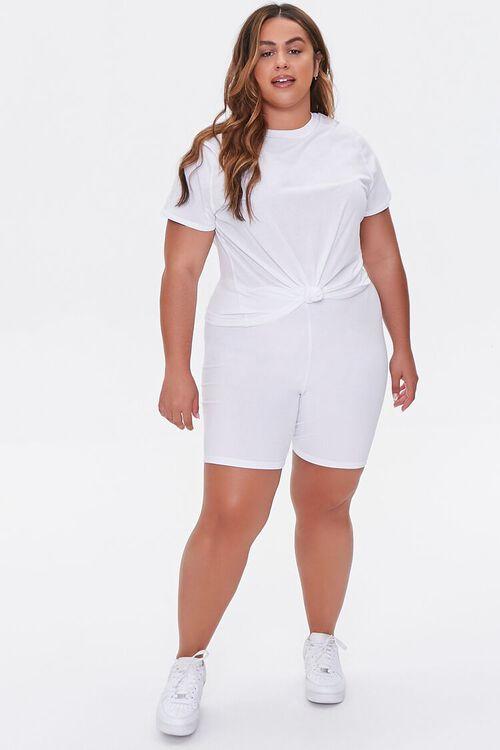 WHITE Plus Size Basic Organically Grown Cotton Biker Shorts, image 5