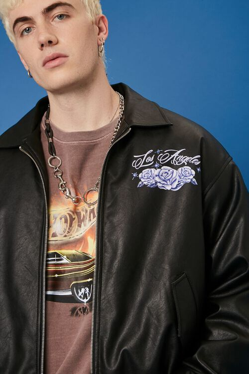 Hot Wheels Graphic Faux Leather Jacket, image 2