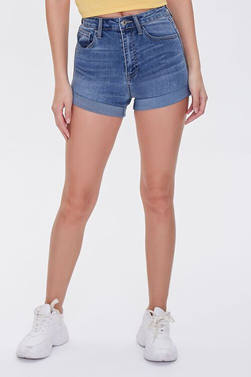 Denim Curvy Shorts, image 2