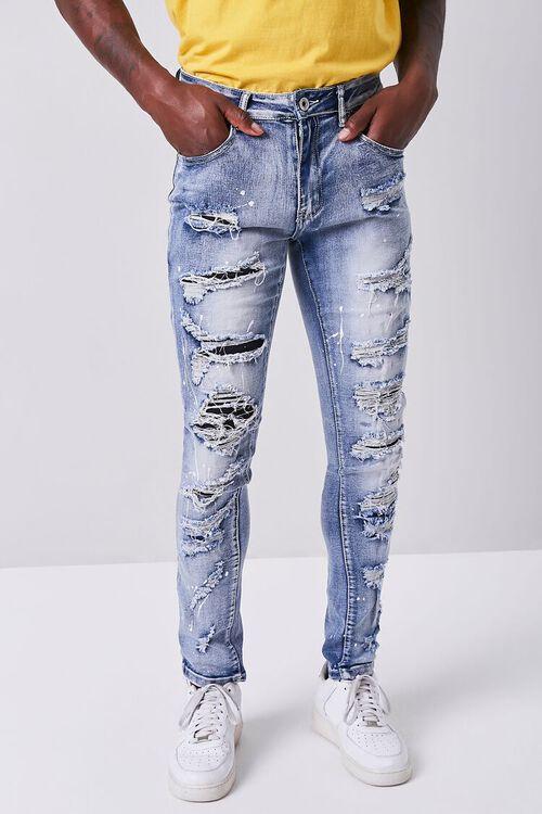 BLUE Paint Splatter Distressed Jeans, image 2