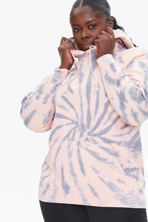 GREY/PINK Plus Size Tie-Dye Hoodie, image 1