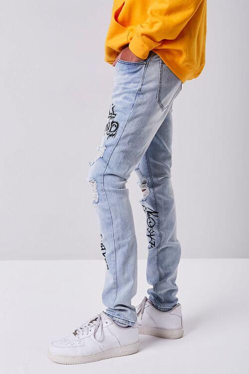 LIGHT DENIM/BLACK Skull Graphic Distressed Jeans, image 3