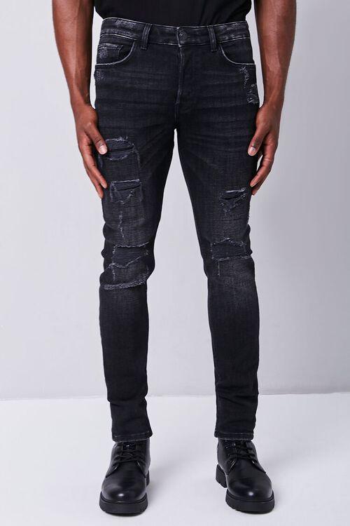 BLACK Distressed Slim-Fit Jeans, image 2