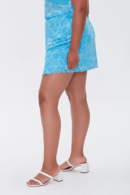 Plus Size Water Print Mini Skirt, image 3