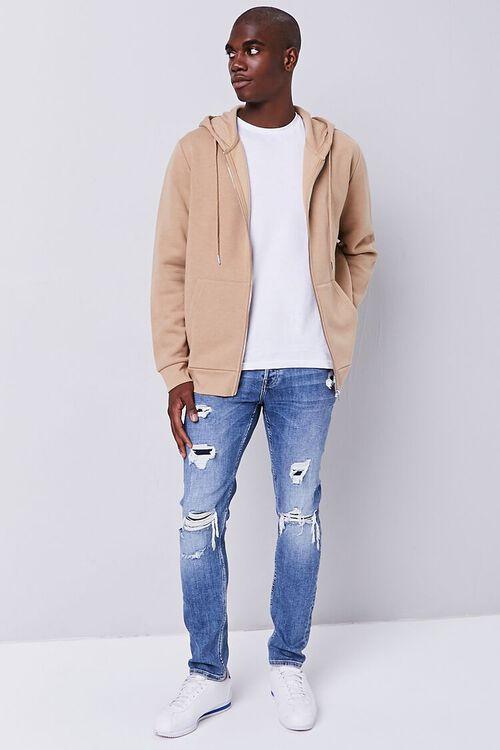 MEDIUM DENIM Distressed Slim-Fit Jeans, image 1