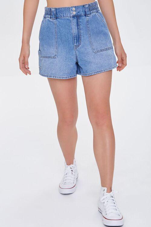 Elasticized Denim Shorts, image 2