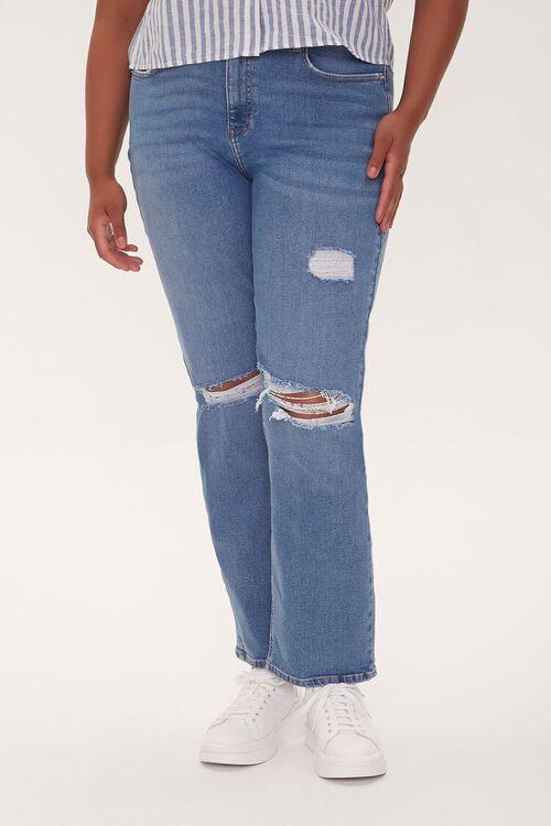 Plus Size Distressed Straight-Leg Jeans, image 2
