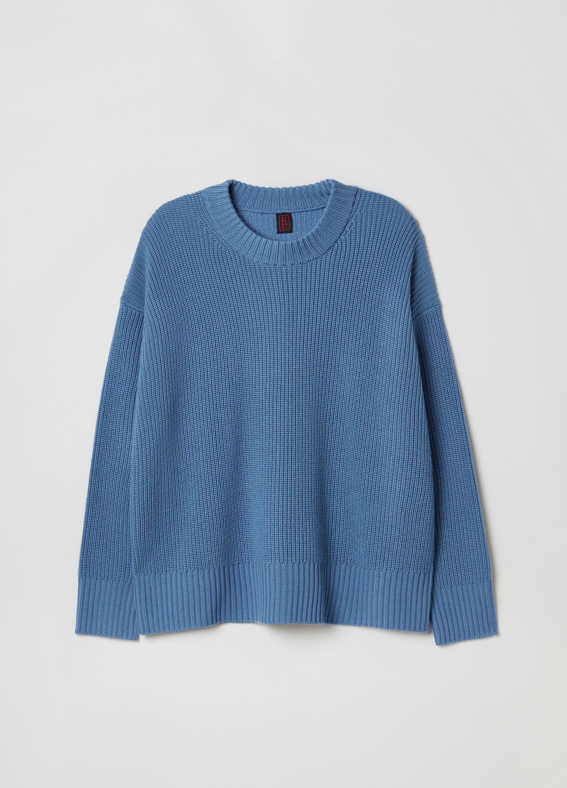 Girocollo over in pura lana Azzurro