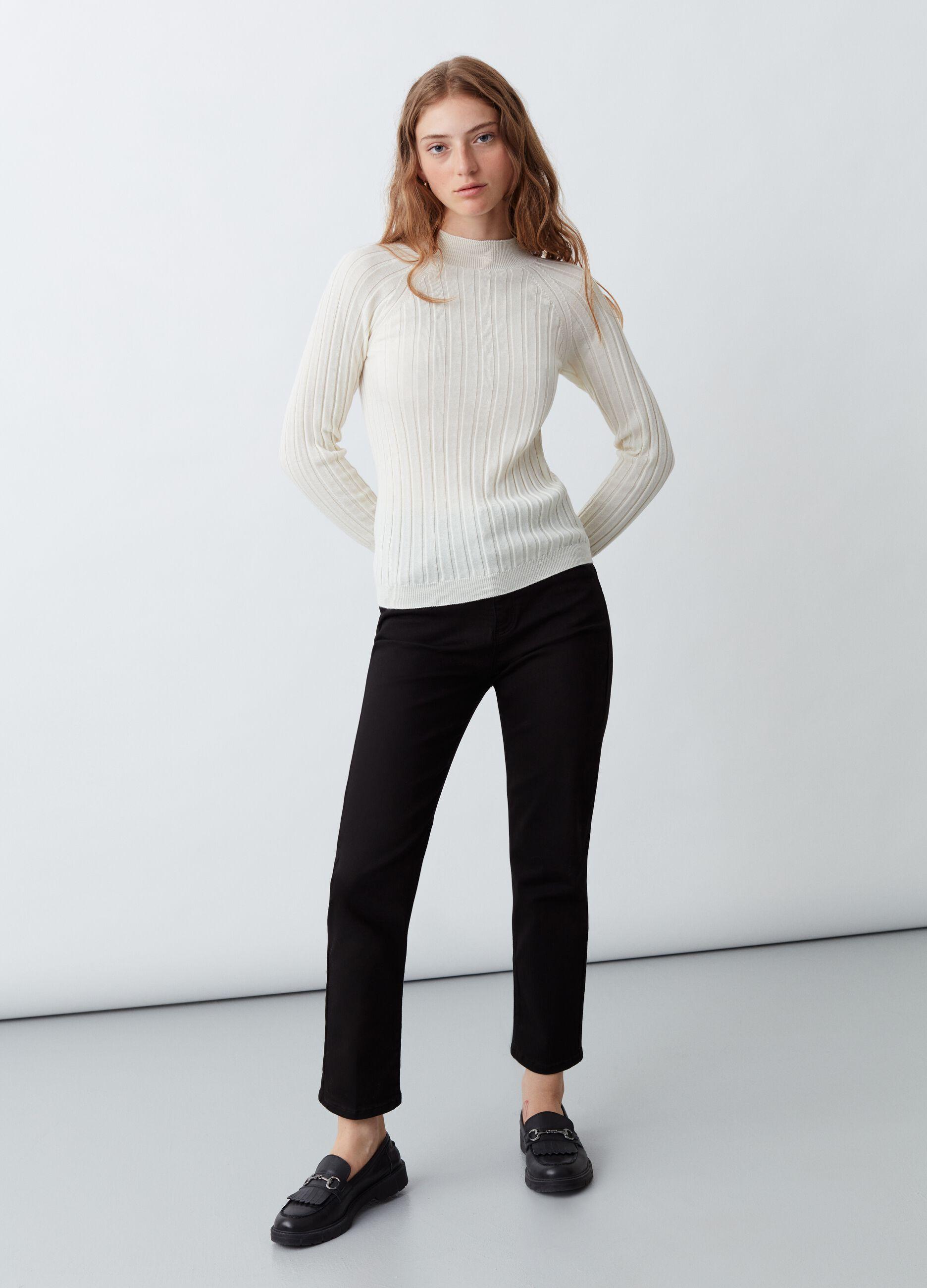 Pullover in lana merinos a coste piatte Bianco