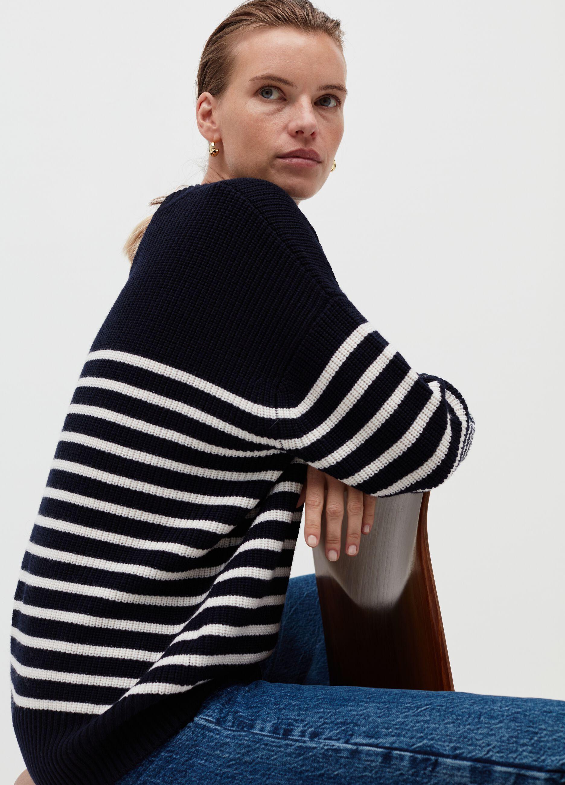 Girocollo over in pura lana a righe Multicolor