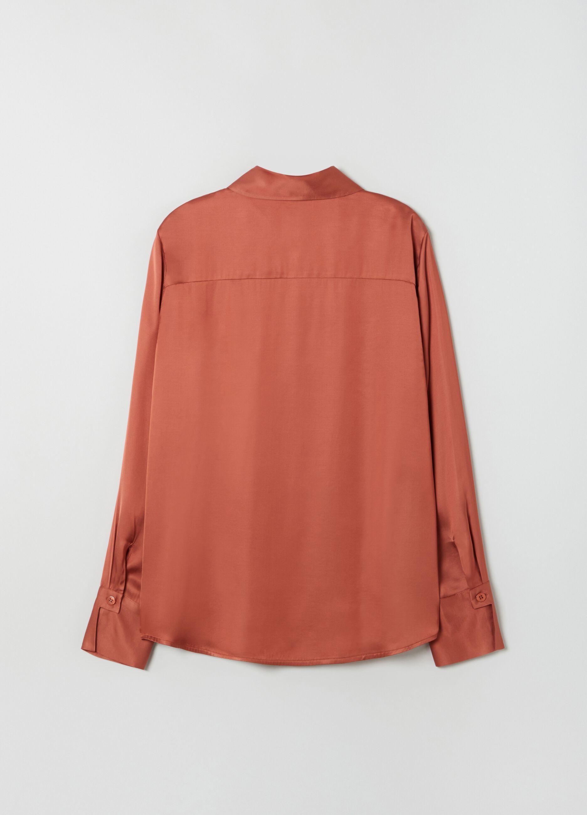 Camicia in raso di viscosa Rosso